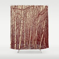 birch Shower Curtains featuring Birch by Indigo Rayz