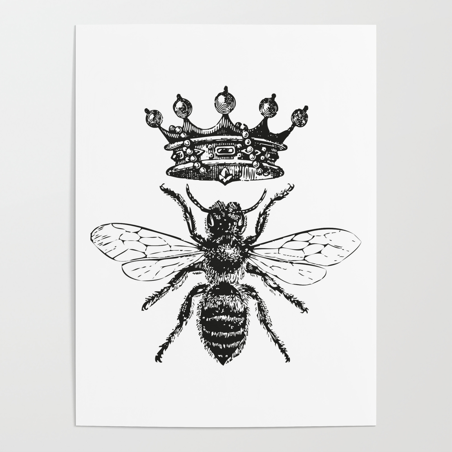 Queen Bee Vintage Bee With Crown Black And White Poster By Eclecticatheart Society6