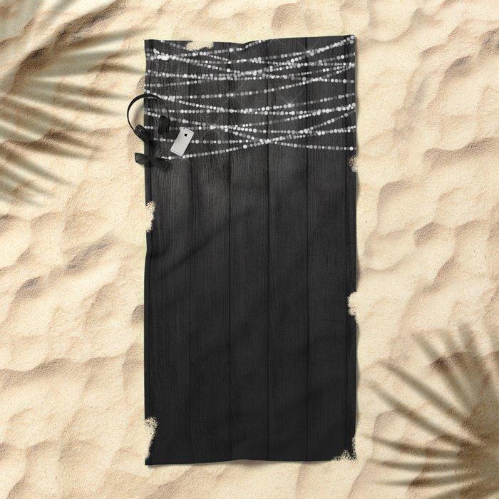 Fairy Lights on Wood 01 Beach Towel