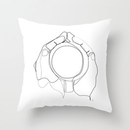 """"""" Kitchen Collection """" - Hands Holding Hot Cup Of Coffee/Tea Throw Pillow"""