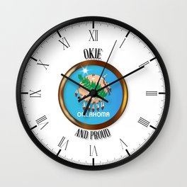 Oklahoma Proud Flag Button Wall Clock
