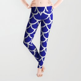Scales (White & Navy Blue Pattern) Leggings