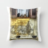 gossip girl Throw Pillows featuring Cats Gossip by Nikolay Raikov