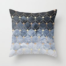 Blue Hexagons And Diamonds Throw Pillow