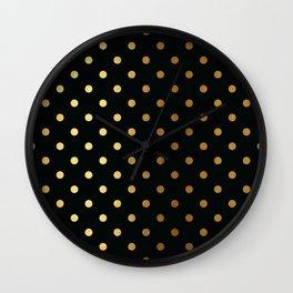 Gold polka dots on black pattern Wall Clock
