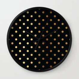 Gold polka dots on black pattern Wall Clock
