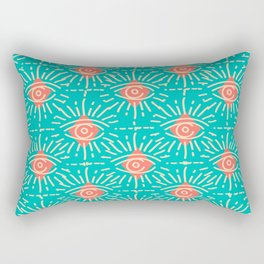 Dainty All Seeing Eye Pattern in Coral Rectangular Pillow