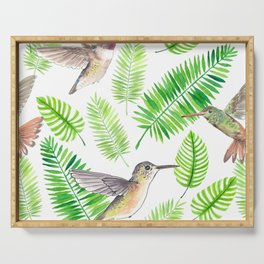 Hummingbirds and tropical leaves Serving Tray