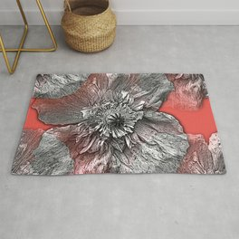 Greyscale transparent poppies on orange-pink-red background Rug