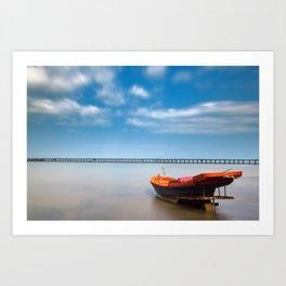 Boat in the sea Art Print