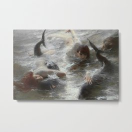 Mermaids, Spoils of the Sea nautical landscape painting by Benes Knupfer, circa 1890 Metal Print