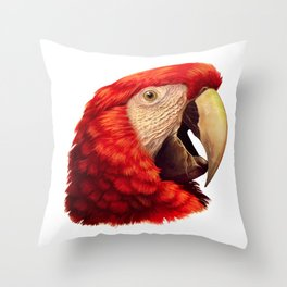 Scarlet Macaw Parrot realistic painting Throw Pillow