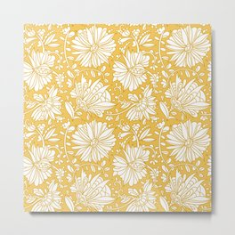 Abstract hand drawn flower pattern. Doodle floral ornament. seamless golden flowers background.  Metal Print