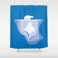polar bear Shower Curtains featuring Polar Bear by BMaw