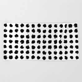 Black and White Minimal Minimalistic Polka Dots Brush Strokes Painting Beach Towel