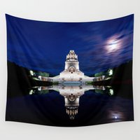 napoleon Wall Tapestries featuring Monument of Battles of Nations- Germany - blue hour by UtArt