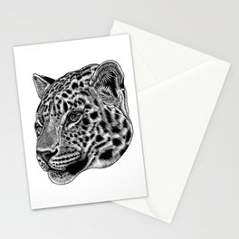 Amur leopard cub - big cat - ink illustration Stationery Cards