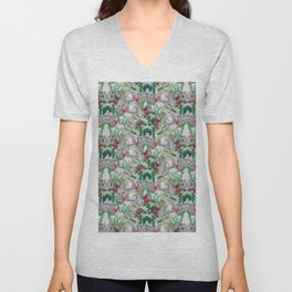 patterned with colorful birds on jungle trees Unisex V-Neck