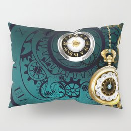 Clock with Gears on Green Background ( Steampunk ) Pillow Sham