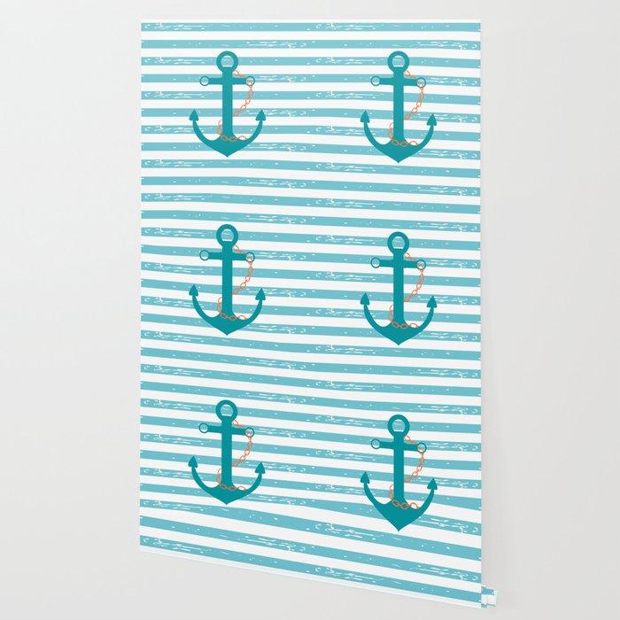 AFE Nautical Teal Ship Anchor Wallpaper