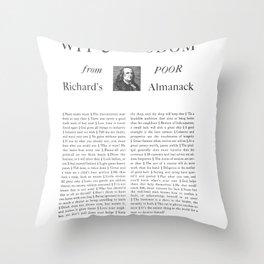 Wit & Wisdom from Poor Richard's Almanack Throw Pillow