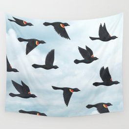 red-winged blackbirds and blue sky Wall Tapestry