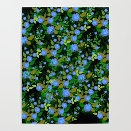 blue luminescent roses Poster