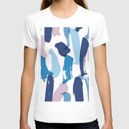 Blue and pink brushstrokes pattern T-shirt
