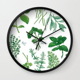 Kitchen Herbs Wall Clock
