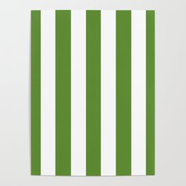 Maximum green - solid color - white vertical lines pattern Poster