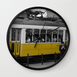 Tram Smoking in Lisbon Wall Clock