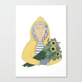 Girl with sunflowers.  Canvas Print