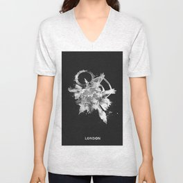London, United Kingdom Black and White Skyround / Skyline Watercolor Painting (Inverted Version) Unisex V-Neck