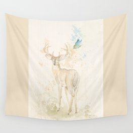 Deer and butterfly Wall Tapestry