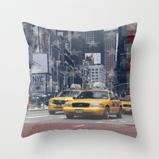 NYC - Yellow Cabs Throw Pillow