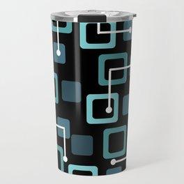 Midcentury 1950s Tiles & Squares Black Turquoise Travel Mug