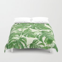 Monstera tropical leaves pattern Duvet Cover
