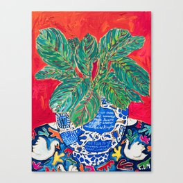 Prayer Plant in Blue-and-White Pot on Swan Table Cloth After Matisse Painting Canvas Print