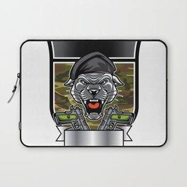 Cougar Panther Mascot Head military emblem Laptop Sleeve
