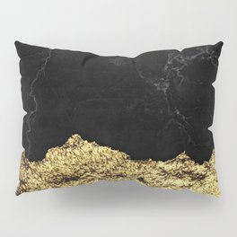 Rough Gold Torn and Black Marble Pillow Sham