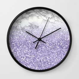She Sparkles - Violet Purple Glitter Marble Wall Clock