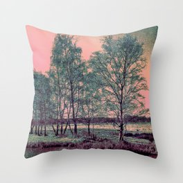 Abstract Winter Landscape, Sun and Birch Trees Throw Pillow