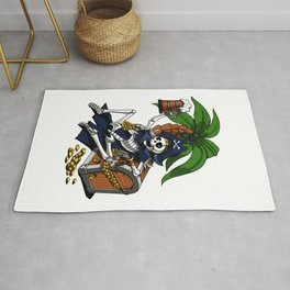 Pirate Skeleton Captain Drinking Beer Party Rug