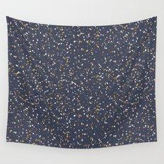 Speckles I: Dark Gold & Snow on Blue Vortex Wall Tapestry