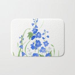 Blue Larkspur Watercolor Garden Flower Delicate Painting Bath Mat