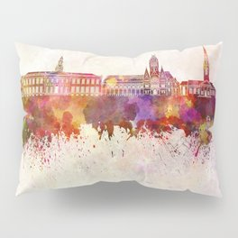 Harvard skyline in watercolor background Pillow Sham