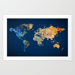 World Map 11 Art Print