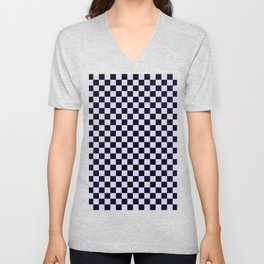 Black and Pale Lavender Violet Checkerboard Unisex V-Neck