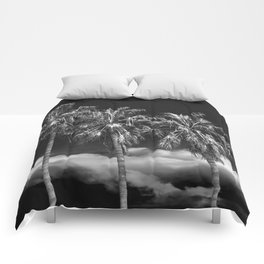 Palm Trees in Black and White on Cabrillo Beach Comforters
