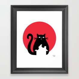 """""""Cat on the roof"""" by Qora and Shaï Framed Art Print"""